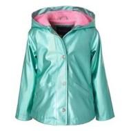 Toddler Girls' Pink Platinum Metallic Rain Jacket