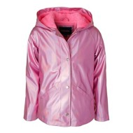 Preschool Girls' Pink Platinum Iridescent Metallic Rain Coat