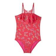 Preschool Girls' Pink Platinum Butterfly Foil 1 Piece Swimsuit