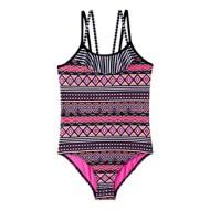 Grade School Girls' Pink Platinum Aztec Stripe 1 Piece Swimsuit