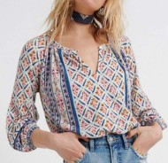 Women's Lucky Brand Printed And Shirred Long Sleeve Shirt
