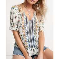 Women's Lucky Brand Floral Border Printed Shirt