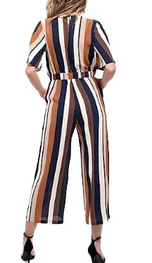 Women's Blu Pepper Front Knot Stripe Jumpsuit