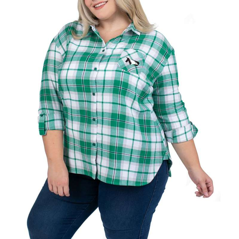 UG Apparel Women's North Dakota Fighting Hawks Plus Size Plaid Long Sleeve Shirt