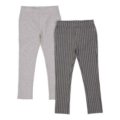 Preschool Girls' Bunz Kidz Pin Stripe Grey 2 Pack Tight