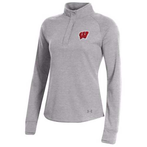 Under Armour Women's Wisconsin Badgers Double Knit Jersey Turtle 1/4 Snap