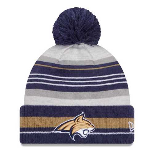 New Era Kids' Montana State Bobcats Grayed Stripe Pom Beanie