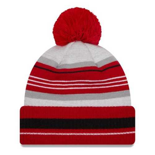 New Era Texas Tech Red Raiders Grayed Stripe Pom Beanie