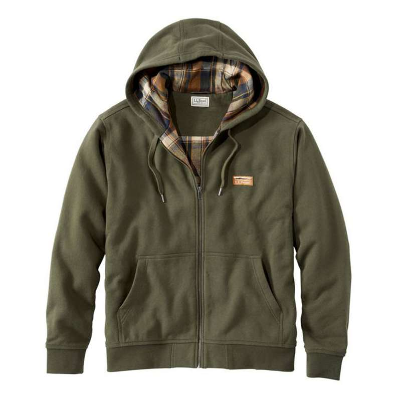 Men's L.L.Bean Katahdin Iron Works Hooded Flannel-Lined Sweatshirt