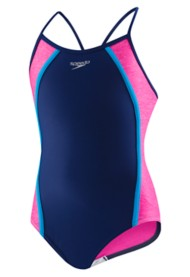 Youth Girls' Speedo Heather Splice Thin Strap Swimsuit