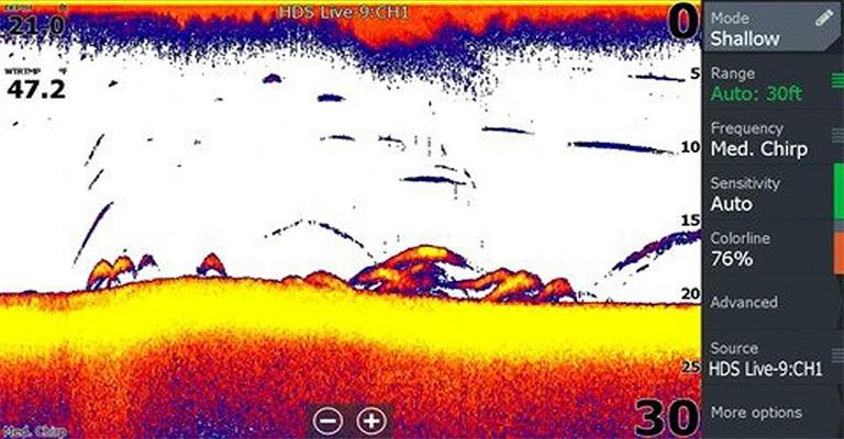 Fish Finder featuring 2D sonar