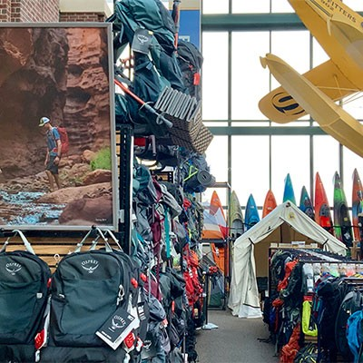 Camping and hiking gear at Sandy Scheels
