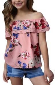 Grade School Girls' Angie Flounce Crochet Shirt