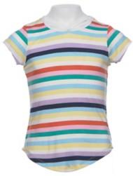 Grade School Girls' Poof! Multi Stripe Strapy Short Sleeve Shirt