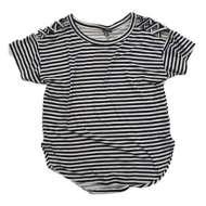 Grade School Girls' Poof! Cage Shoulder Striped Short Sleeve Shirt