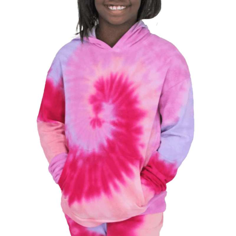 Girls' Candy Pink Sunset Swirl Tie Dye Hoodie