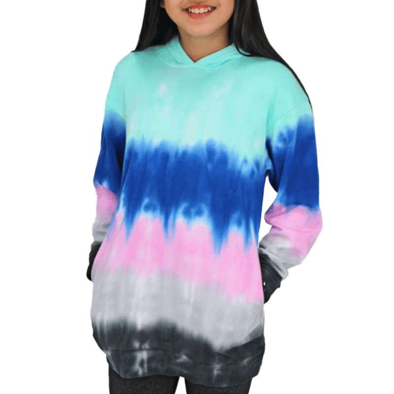 Girls' Candy Pink Multi Stripe Hooded Dress Sweatshirt