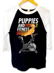 Women's Puppies Make Me Happy Fitness 3/4 Sleeve Shirt