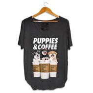 Women's Puppies Make Me Happy Puppies & Coffee Weekend Short Sleeve Shirt
