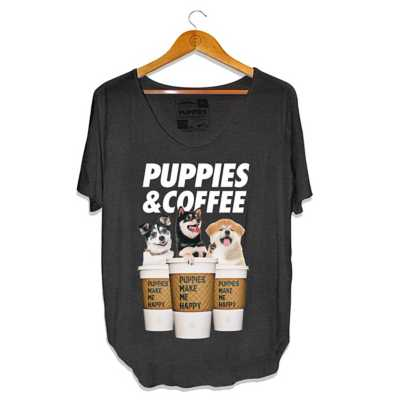 Women's Puppies Make Me Happy Rosé Weekend Short Sleeve Shirt