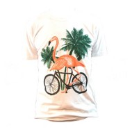 Men's Dark Cycle Flamingo on a Bicycle T-Shirt