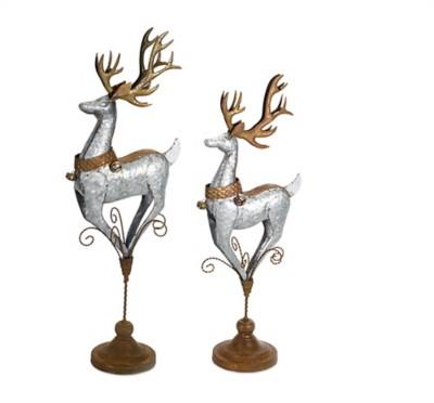 Melrose International Silver & Gold Deer on Pedestal