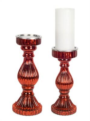 Melrose International Red Crome Candleholder