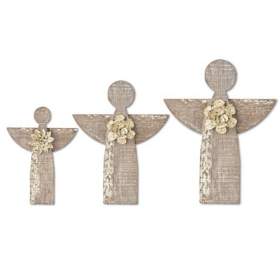 K K Interiors Wooden Large Angels Wall Art