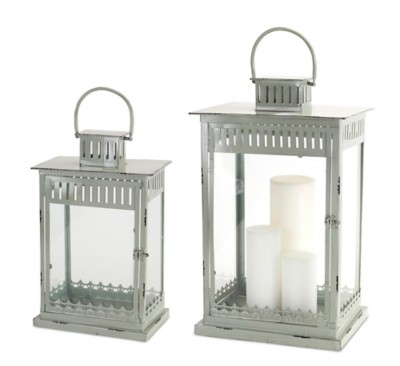 Melrose International Grey Metal Glass Lantern