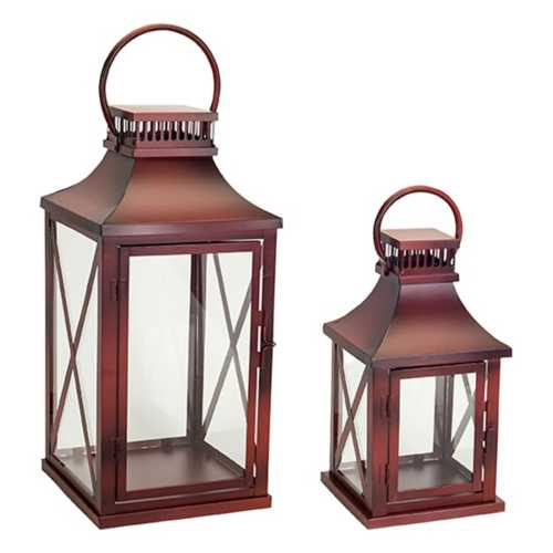 Melrose International Metal Windowpane Decorative Lantern