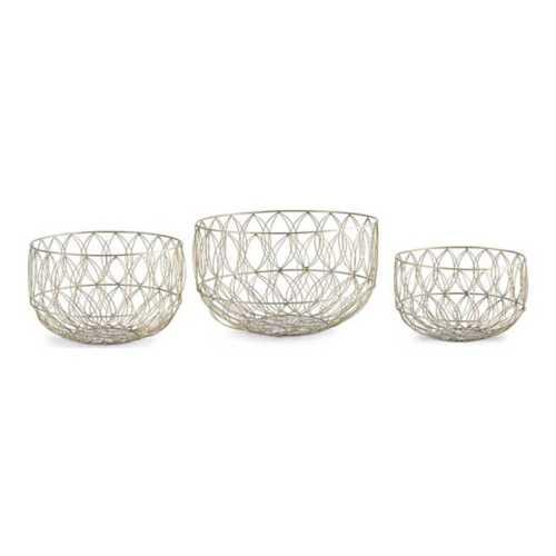 K & K Interiors Metal Art Deco Wire Basket