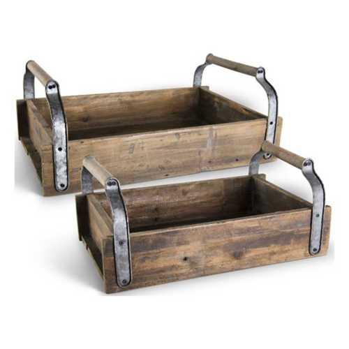 K & K Interiors Barnwood Tray with Galvanized Open Tin Handles