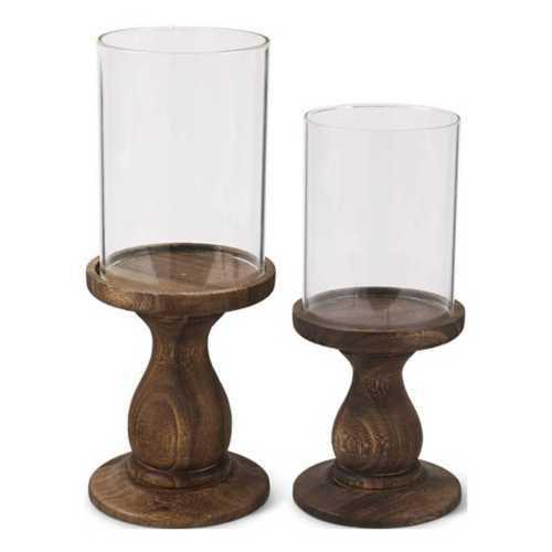 K & K Interiors Wood Pedestal with Glass Cylinder Candleholder