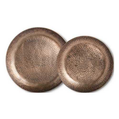 K&K Interiors Round Metal Antique Copper Platter