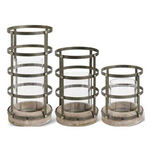 K & K Interiors Antique Gold Riveted Cage Hurricane