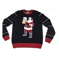 Men's Ugly Christmas Sweater Santa  Brew Sweater