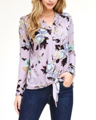 Women's Staccato Floral Tie Front Long Sleeve Shirt