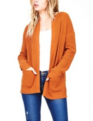 Women's Staccato Open Front Ribbed Cardigan Sweater