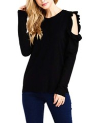 Women's Staccato Ruffle Cold Shoulder Sweater