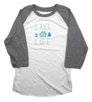 Women's Park Bench Apparel Lake Life Baseball 3/4 Sleeve Shirt