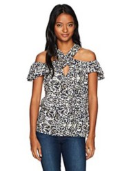 Women's Angie Cold Shoulder Printed Top
