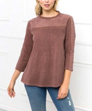 Women's Mystree Mock Neck Lace 3/4 Sleeve Shirt