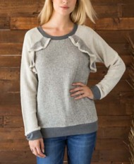 Women's Mystree Raglan Ruffle Sweatshirt