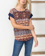 Women's Mystree Tribal Front Knot Short Sleeve Shirt