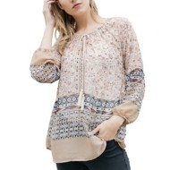 Women's Mystree Peasant Printed Blouse