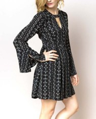 Women's Hem & Thread Babydoll Pocketed Slit Neck Dress