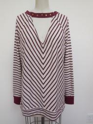 Women's Hem & Thread Choker Striped Sweatshirt
