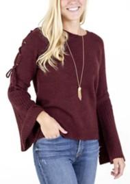 Women's Hem & Thread Tie Bell Sleeve Sweater