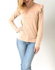Women's Hem & Thread Lace Trim Ruffle Long Sleeve Shirt