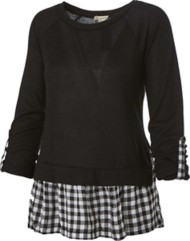 Women's Hem & Thread Gingham Contrast Long Sleeve Shirt